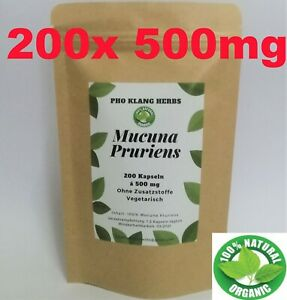 200 Kapseln 100% Mucuna Pruriens Pulver Bio Juckbohne Dopa Capsules halal vegan