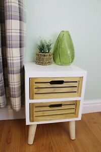 White & Natural Bedside Cabinet 2 Wooden Drawers Unit Removable Legs Side Table