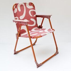 Petite chaise enfant pliante de camping rouge orange vintage