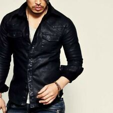 Masculine Edge Design Stretchy Mens Black Real Leather Western Shirt