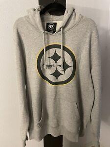New '47 Brand Pittsburgh Steelers NFL Hoodie Pullover Sweatshirt Gray XL **Read