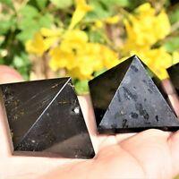 "[1] Charged 2"" (50mm) Black Tourmaline Pyramid Crystal Healing Energy ~106g"