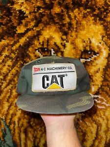 Vtg CAT Camo Big Patch Trucker Hat Tonkin Made In USA