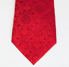 Pure silk floral tie by T M Lewin bright red flower brocade