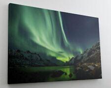 Polarlicht Nordlichter Winter Eis See Leinwand Bild Wandbild Kunstdruck L0653