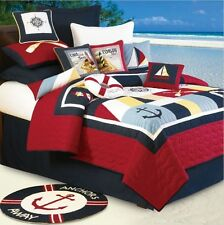 SAIL AWAY 3pc Full Queen QUILT SET : NAUTICAL SAILBOAT LIGHTHOUSE BOAT TROPICAL