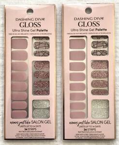 2 Dashing Diva Rose Sparkle Gloss Ultra Shine Gel Palette ~34 Strips & Nail File