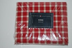 NEW TOMMY HILFIGER KARIN RED PLAID  KING  BED SKIRT