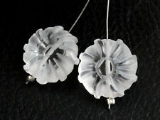 Natural Crystal Rock Frosted Hand Carved Flower Gemstone Matched Pair Beads