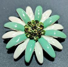 Green Rhinestones Enamel 60s Flower Pin Brooch Or Pendant