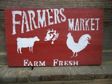 Primitive FARMERS MARKET FARM FRESH rooster sheep cow wood sign vintage antique