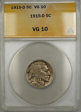 1915-D Buffalo Nickel 5c Coin ANACS VG-10 PRX