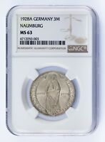 1928-A Germany 3 Mark Naumburg Graded by NGC as MS63