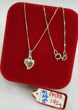 Gold Authentic. 18k white gold heart necklace 18 inches chain,,