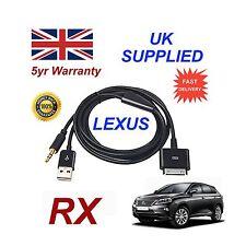 LEXUS RX pour Apple iPhone 3GS 4 4S IPOD USB & Audio Auxiliaire Câble Noir