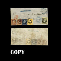 NORWAY copies of 2, 3 &  8 skilling 25 skilling with numeral cancellations  COPY