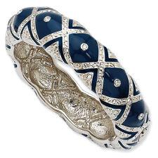 """Jacqueline Kennedy Rhodium Finish Crystal Blue Enameled Wrist Bangle 8"""""""