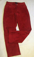 Joujou Skins Red Suede Leather Jeans Cut Straight Leg Pants Juniors 9/10 30X29