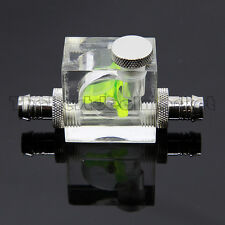 Water Cooling Flow Meter Acrylic 3 Way G1/4 Threaded 2 Barbs 3/8 OD & Stopper