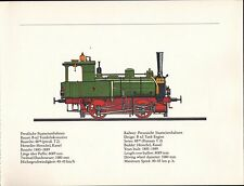 VINTAGE RAILWAY GERMAN TRAIN ENGINES PRINT ~ PREUSSISCHE STAATSEISENBAHNEN