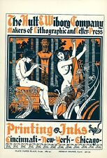 Henri Advertising Poster, Ault & Wiborg Printing Inks, Art Nouveau,