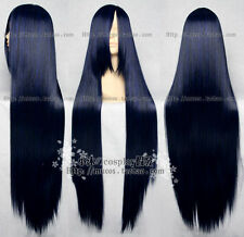 COS WIG Long Cosplay Blue Black Straight Wig 100cm free wig cap