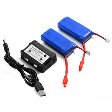2x 2000mAh 7.4V 25C LiPo Battery + 2S Balance Charger for Syma X8HG Drone BC587