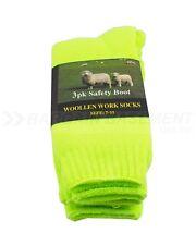 3 X Hi Vis Premium Wool Thick Work Fluro Yellow Safety Boot Socks Sock Size 7-11