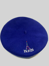 Wool Beret Royal Blue Embroidered PARIS Eiffel Tower