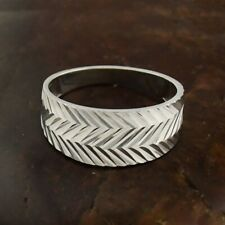 10k White Gold Estate Diamond Cut Style Wide Band/Ring 9.75