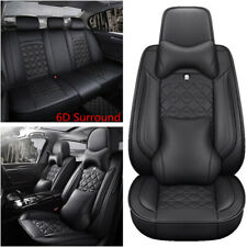 Breathable PU Leather 5 Seat Car Seat Cover Cushion Pad 6D Surround w/Headrest