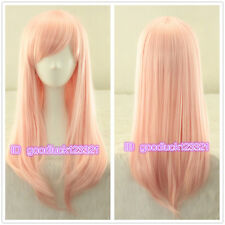 Elfen Lied Anime Long Light Pink straight Cosplay Wig Lovely girl +free wig cap