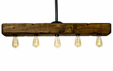 Farmhouse Style Distressed Wood Light Fixture - Recessed Wooden Beam Rustic
