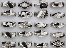 Job Mixed Lots 30pcs Rhinestone&Shell Wonderful Black&White Rings Jewelry Lots