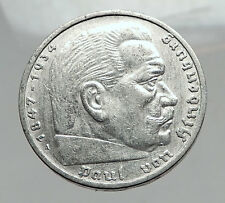 1935 Germany 2nd President Paul von Hindenburg Silver German 5 Marks Coin i64413