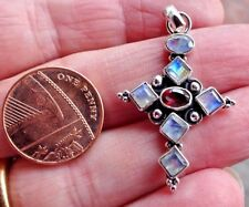 Superb Sterling Silver Rainbow Moonstone & Garnet Cross Pendant