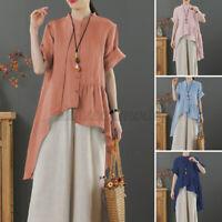ZANZEA Women Casual Cotton Short Sleeve Holiday Tops Asymmetrical T-Shirt Blouse