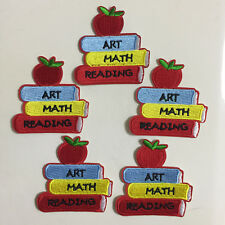 5pcs Back to School Books Red apple Iron On Patches Appliques Sewing Kids Crafts