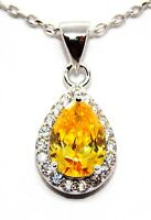 Sterling Silver Yellow Sapphire & Diamond 2ct Necklace (925) Free Gift Box