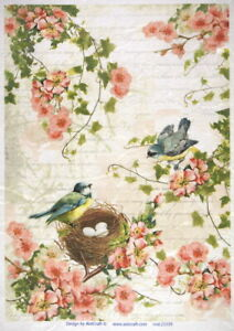 Rice Paper for Decoupage Scrapbook Craft Birds family