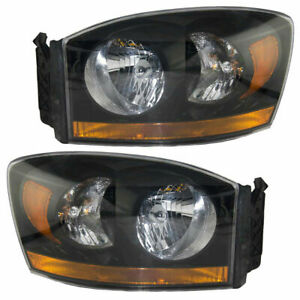 P.FOR DODGE RAM TRUCK 2006 2007 2008 HEADLIGHTS W/BLACK BEZEL RIGHT & LEFT PAIR