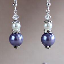 Vintage lilac mauve purple white pearls silver earrings wedding bridal accessory