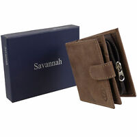 New Mens Hunter Leather Wallet with Tab  Zipped Coin Pocket Savannah Gift Boxed