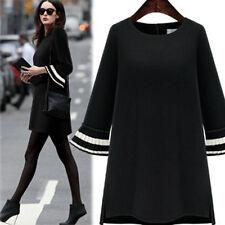 Women Winter Casual Loose Long Trumpet Sleeve Pullover Sweater Dress Sweatshirt