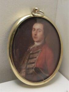 Portrait Miniature of Major General Wolfe in an oval brass frame