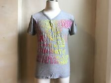 GALLIANO by JOHN GALLIANO  SERAFINO GRAY V NECK HENLEY NEON FRONT PRINT SHIRT L