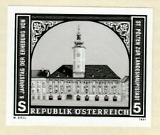 Austria Black Print Imperf Proof St Polten City Hall Architecture Building Tower