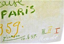 PICASSO Pablo * Litho Originale 1959 * AFFICHES ORIGINALES MAÎTRE ÉCOLE DE PARIS