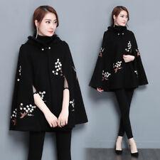 Women Cloak Cape Jacket Coat Hooded Woolen Embroider Poncho Winter Parka Outwear