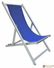 Sedia sdraio pieghevole prendisole blu lusso in alluminio antiruggine per mare c